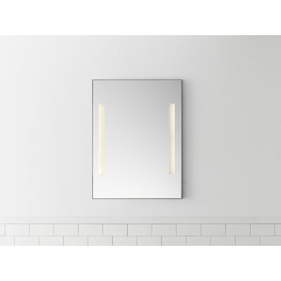 "Contemporary 23"" x 30"" Metal Framed Bathroom Mirror w/LEDs in Brushed Nickel"