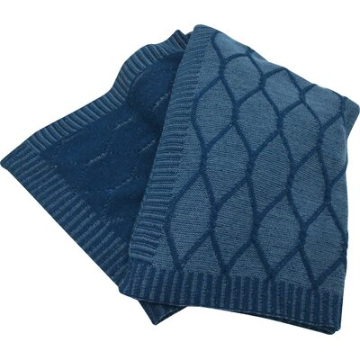 Bedford Cottage Knitted Throw Color: Denim
