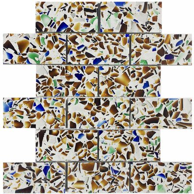 Vetrazzo Back 2 x 4? Mosaic Tile in Polished Alehouse amber