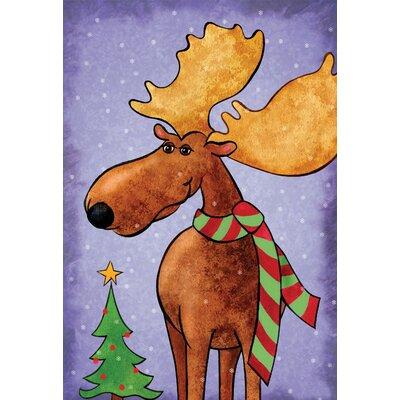 Whimsical Christmas Moose Garden Flag
