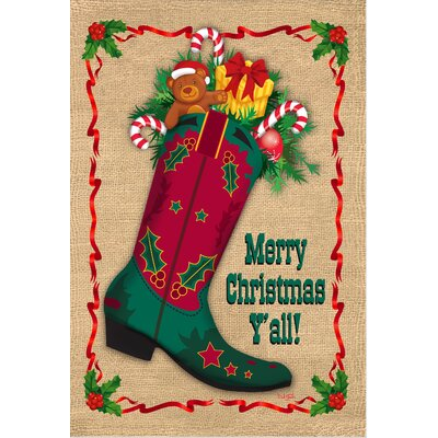 Merry Christmas Ya'll Boot Garden Flag