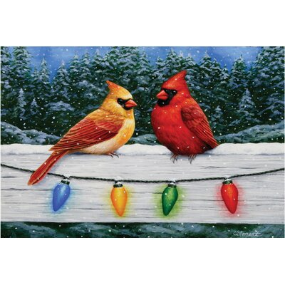 Christmas Cardinals Doormat