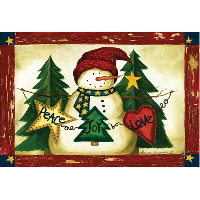 Snowman with Magic Words: Peace, Love, Joy Doormat