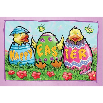 Happy Easter with Chicks Doormat