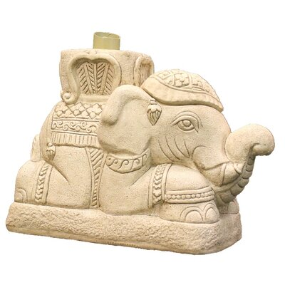Raja Elephant Patio Umbrella Stand Color: Beige