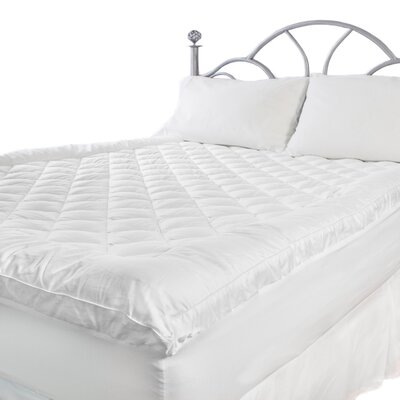Deluxe Fiberbed 300 Thread Count Cotton Top Mattress Pad Size: King