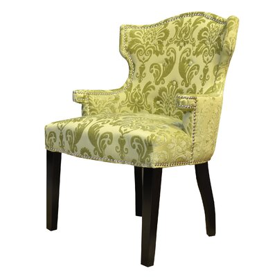 Brittania Fan Damask Wingback Chair Color: Chartruese