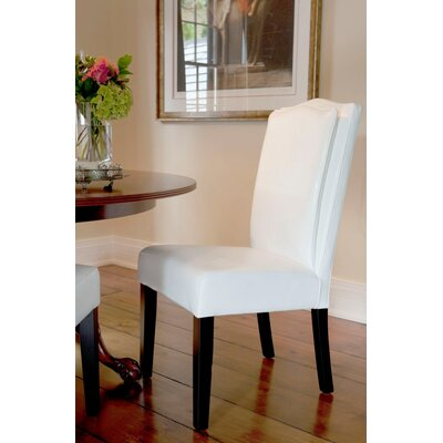 Cambria Pillowback Parsons Chair Upholstery: White