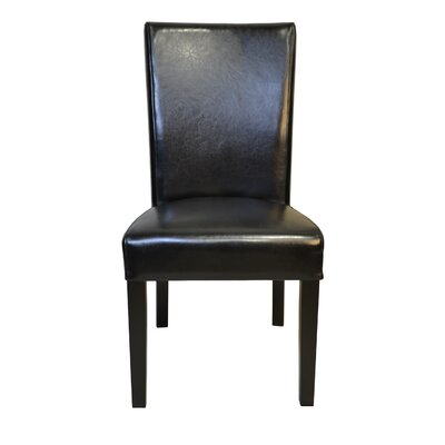 Petra Straightback Genuine Leather Upholstered Dining Chair Upholstery: Black