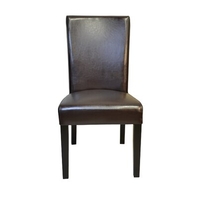 Petra Straightback Genuine Leather Upholstered Dining Chair Upholstery: Brown