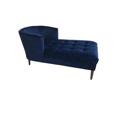 Caleigh Mistral Velvet Chaise Lounge Upholstery: Navy