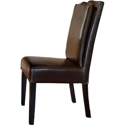 Cambria Pillowback Genuine Leather Upholstered Dining Chair Upholstery: Brown