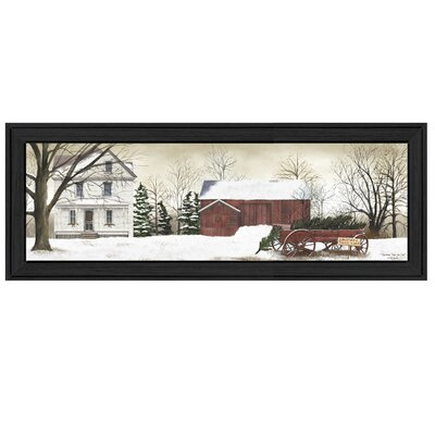 'Christmas Trees for Sale' Framed Print On Wood Size: 14