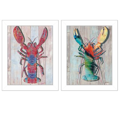 'Lobster' 2 Piece Framed Graphic Art Print Set