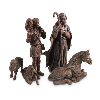 4 Piece Shepherds with Animals Moments of Faith Nativity Set 77411