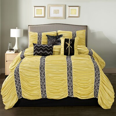 Donny 7 Piece Comforter Set Size: King