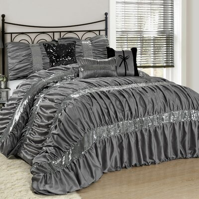 Luce 7 Piece Comforter Set Color: Silver, Size: Queen