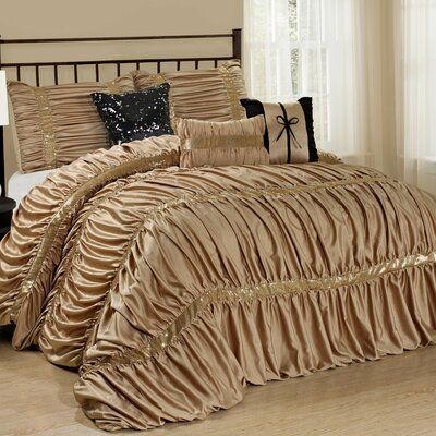 Luce 7 Piece Comforter Set Color: Champagne, Size: Queen