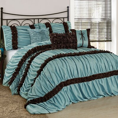 Luce 7 Piece Comforter Set Color: Blue, Size: King