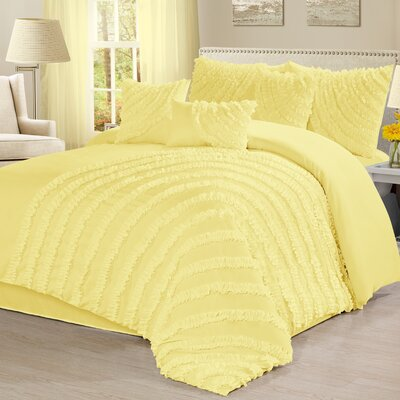 Carrie 7 Piece Comforter Set Size: King, Color: Yellow