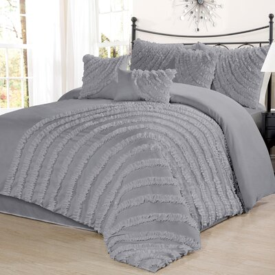 Carrie 7 Piece Comforter Set Size: Queen, Color: Gray
