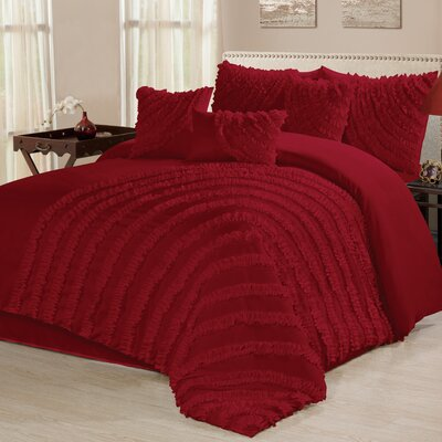 Carrie 7 Piece Comforter Set Size: California King, Color: Red