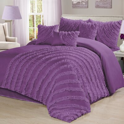 Carrie 7 Piece Comforter Set Size: Queen, Color: Purple