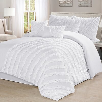 Carrie 7 Piece Comforter Set Size: California King, Color: White