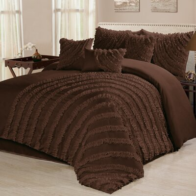 Carrie 7 Piece Comforter Set Size: Queen, Color: Brown