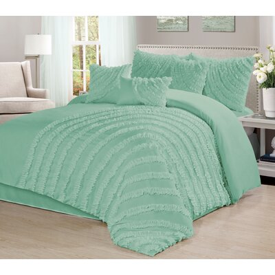 Carrie 7 Piece Comforter Set Size: California King, Color: Lake Green
