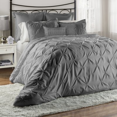 Bazarus 8 Piece Comforter Set Color: Gray, Size: King