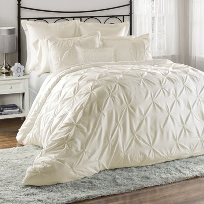 Bazarus 8 Piece Comforter Set Color: Ivory, Size: King