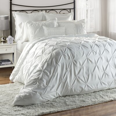 Bazarus 8 Piece Queen Comforter Set Color: White