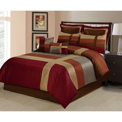 Louie 8 Piece Comforter Set Size: King, Color: Burgundy