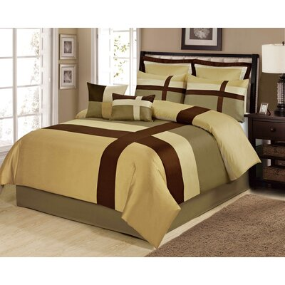 Louie 8 Piece Comforter Set Size: King, Color: Gold