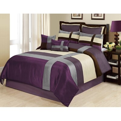 Louie 8 Piece Comforter Set Size: Queen, Color: Purple