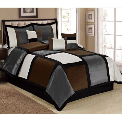 Spencer 7 Piece Comforter Set Size: King, Color: Gray
