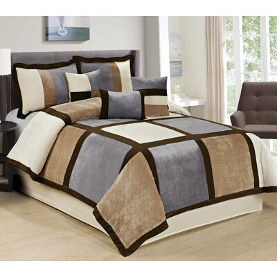 Spencer 7 Piece Comforter Set Size: Queen, Color: Beige