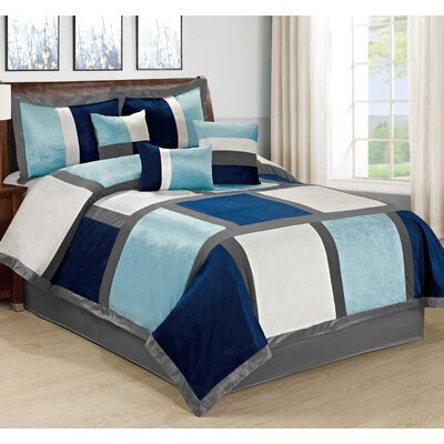 Spencer 7 Piece Comforter Set Size: King, Color: Blue