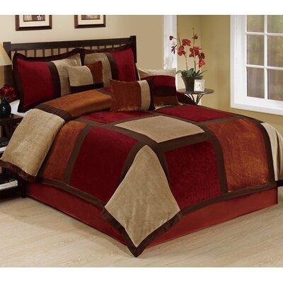 Spencer 7 Piece Comforter Set Size: King, Color: Burgundy