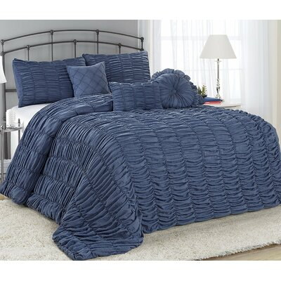 Adele 7 Piece Comforter Set Size: Queen, Color: Navy