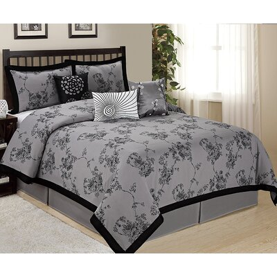 Sunrise 7 Piece Comforter Set Size: Queen, Color: Gray