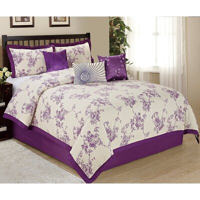 Sunrise 7 Piece Comforter Set Size: Queen, Color: Purple