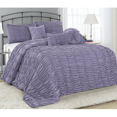 Adele 7 Piece Comforter Set Color: Purple, Size: King