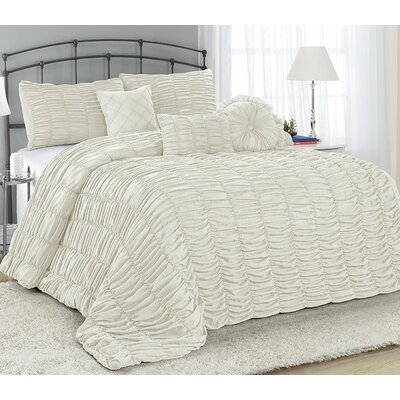 Adele 7 Piece Comforter Set Size: King, Color: Ivory