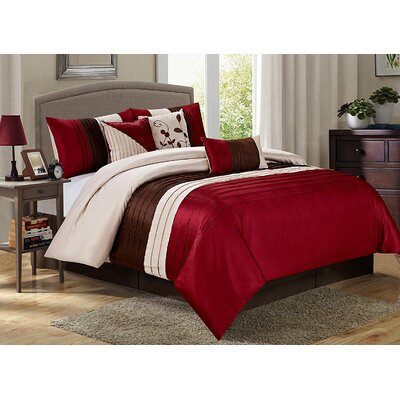 Eden 7 Piece Comforter Set Size: King, Color: Burgundy