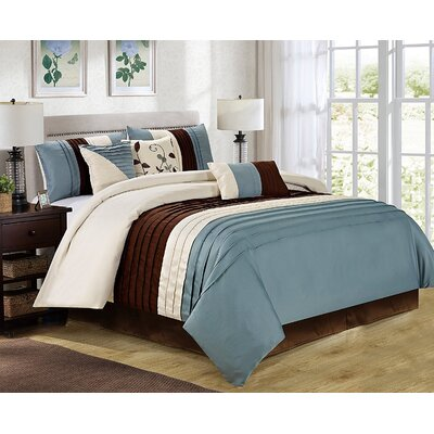 Eden 7 Piece Comforter Set Size: King, Color: Blue