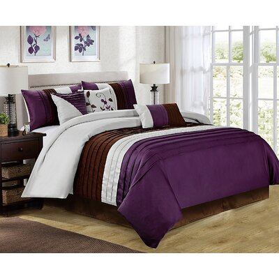 Eden 7 Piece Comforter Set Size: King, Color: Purple