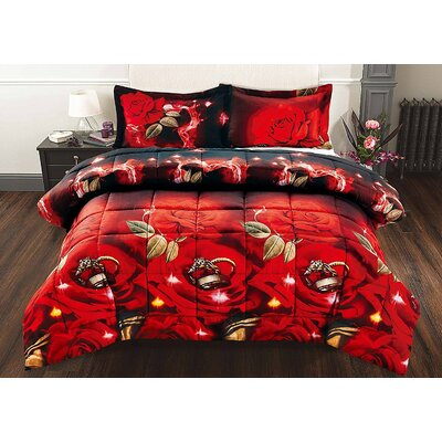 Rose Ring 3 Piece Comforter Set Size: King