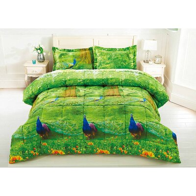 Peacock 3 Piece Comforter Set Size: Queen